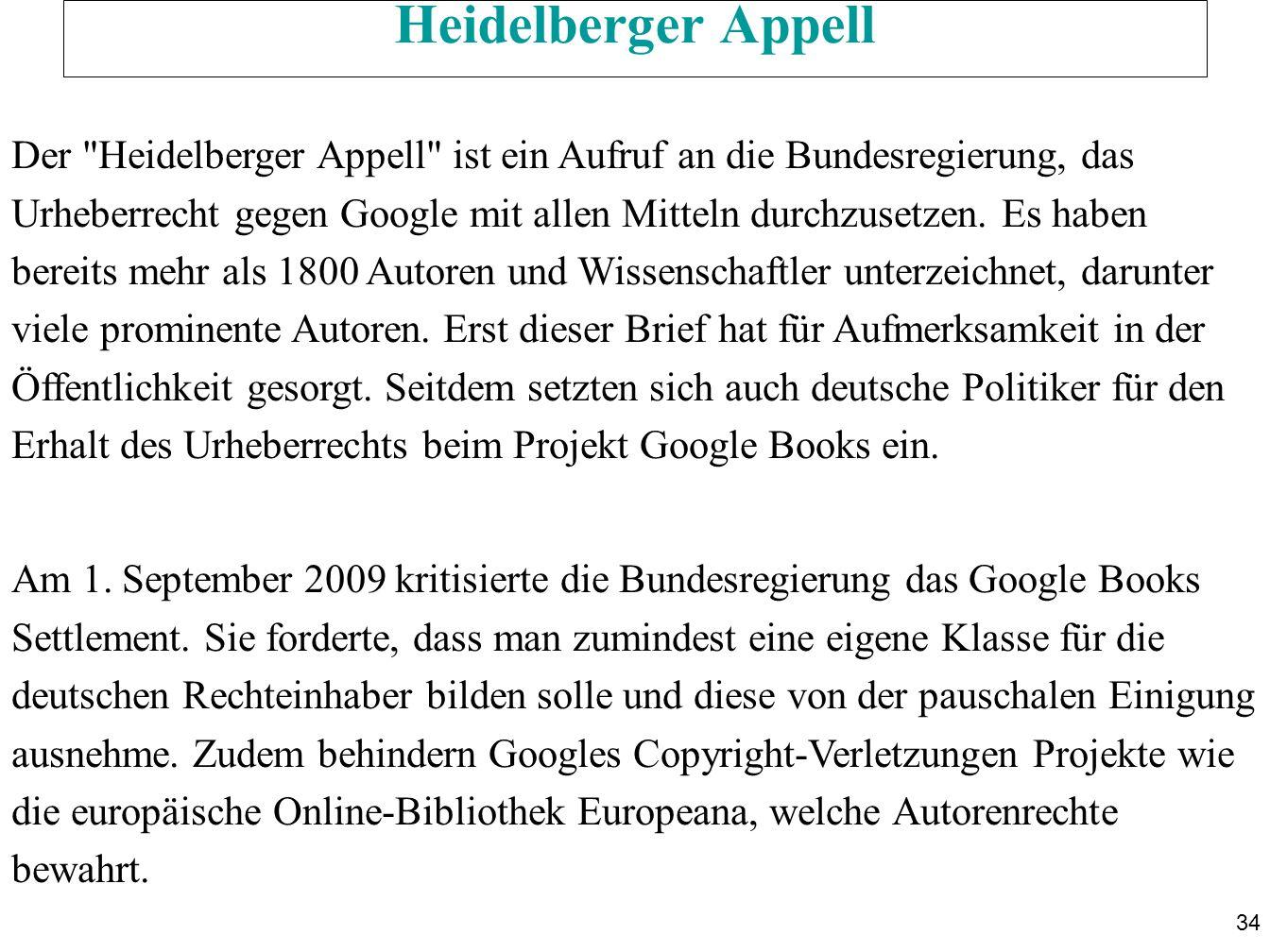 34 Heidelberger Appell Der