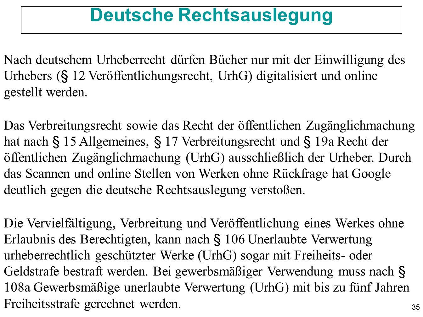35 Deutsche Rechtsauslegung Nach deutschem Urheberrecht dürfen Bücher nur mit der Einwilligung des Urhebers (§ 12 Veröffentlichungsrecht, UrhG) digitalisiert und online gestellt werden.