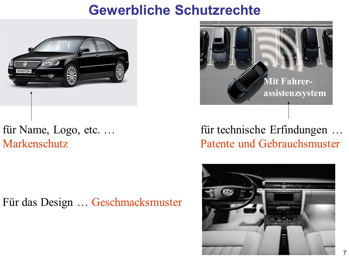 7 Gewerbliche Schutzrechte für Name, Logo, etc. … Markenschutz Mit Fahrer- assistenzsystem für technische Erfindungen … Patente und Gebrauchsmuster Fü