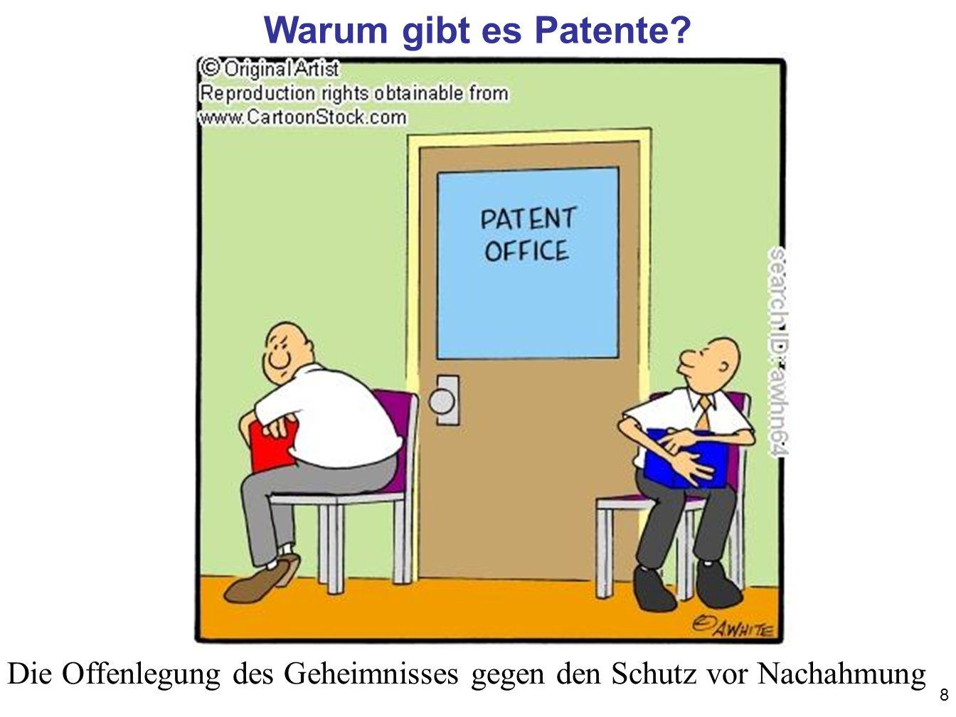 8 Warum gibt es Patente? Die Offenlegung des Geheimnisses gegen den Schutz vor Nachahmung
