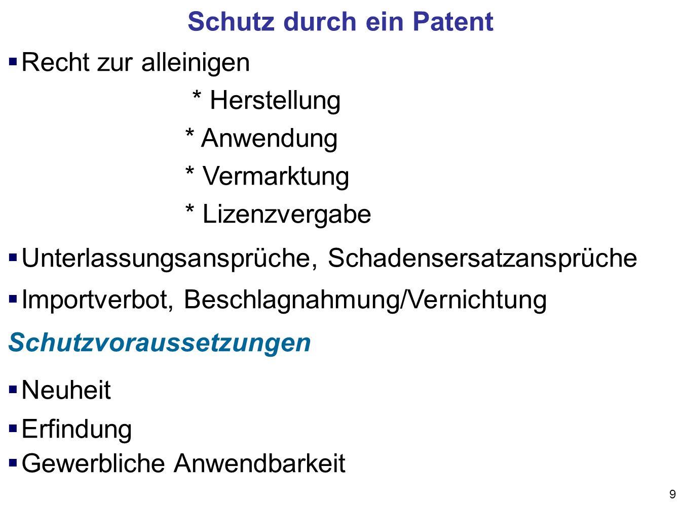 9 Recht zur alleinigen * Herstellung * Anwendung * Vermarktung * Lizenzvergabe Unterlassungsansprüche, Schadensersatzansprüche Importverbot, Beschlagnahmung/Vernichtung Schutzvoraussetzungen Neuheit Erfindung Gewerbliche Anwendbarkeit Schutz durch ein Patent