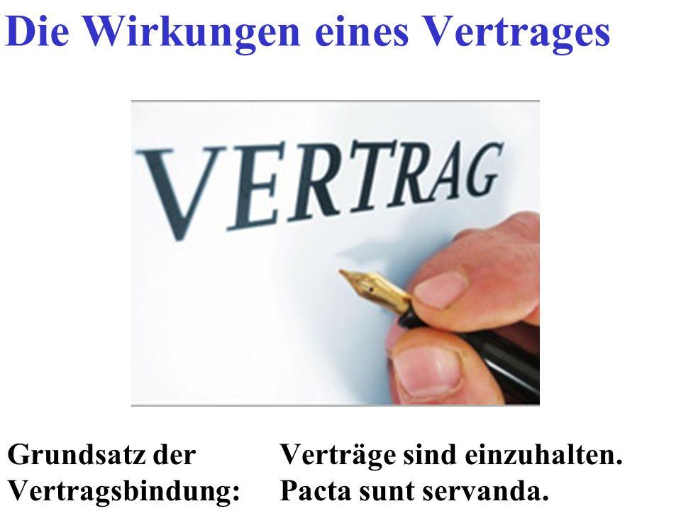 Grundsatz derVerträge sind einzuhalten. Vertragsbindung: Pacta sunt servanda. Die Wirkungen eines Vertrages