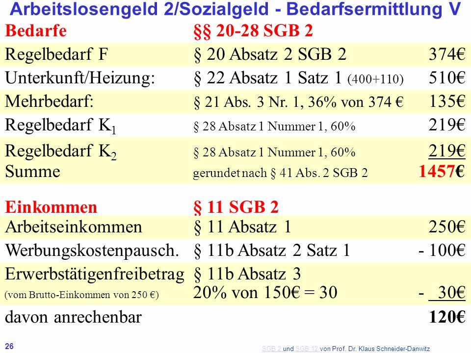 SGB 2 SGB 2 und SGB 12 von Prof. Dr. Klaus Schneider-DanwitzSGB 12 26 Bedarfe§§ 20-28 SGB 2 Regelbedarf F§ 20 Absatz 2 SGB 2374 Unterkunft/Heizung:§ 2