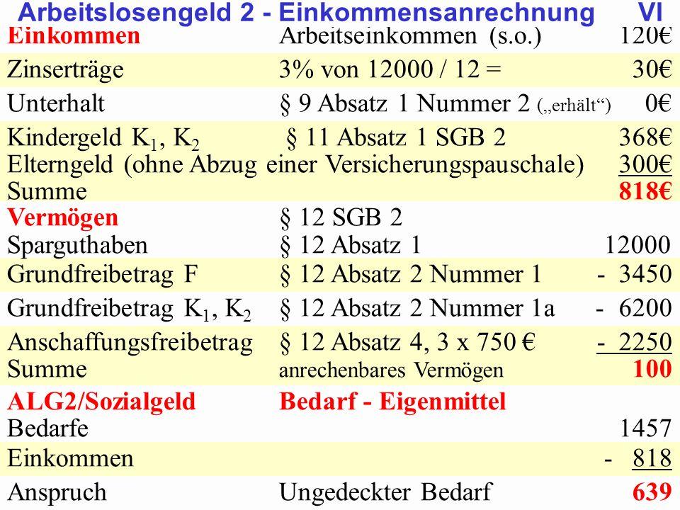 SGB 2 SGB 2 und SGB 12 von Prof. Dr. Klaus Schneider-DanwitzSGB 12 27 EinkommenArbeitseinkommen (s.o.)120 Zinserträge3% von 12000 / 12 = 30 Unterhalt§