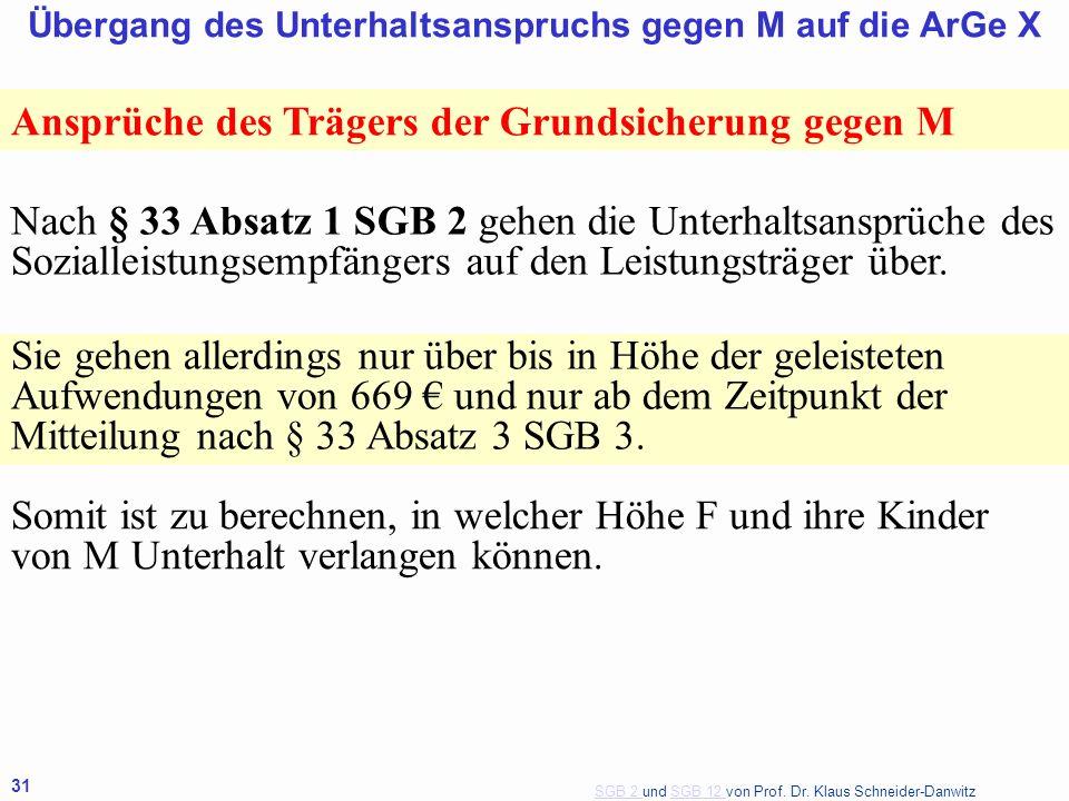 SGB 2 SGB 2 und SGB 12 von Prof. Dr. Klaus Schneider-DanwitzSGB 12 31 Übergang des Unterhaltsanspruchs gegen M auf die ArGe X Ansprüche des Trägers de