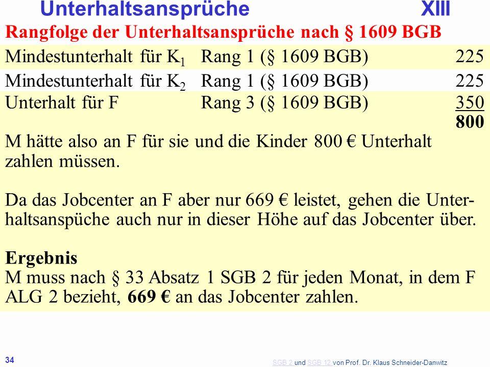 SGB 2 SGB 2 und SGB 12 von Prof. Dr. Klaus Schneider-DanwitzSGB 12 34 Rangfolge der Unterhaltsansprüche nach § 1609 BGB Mindestunterhalt für K 1 Rang