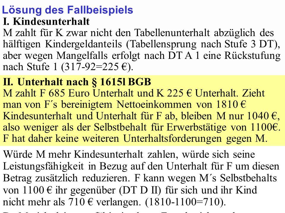 SGB 2 SGB 2 und SGB 12 von Prof. Dr. Klaus Schneider-DanwitzSGB 12 42 I. Kindesunterhalt M zahlt für K zwar nicht den Tabellenunterhalt abzüglich des