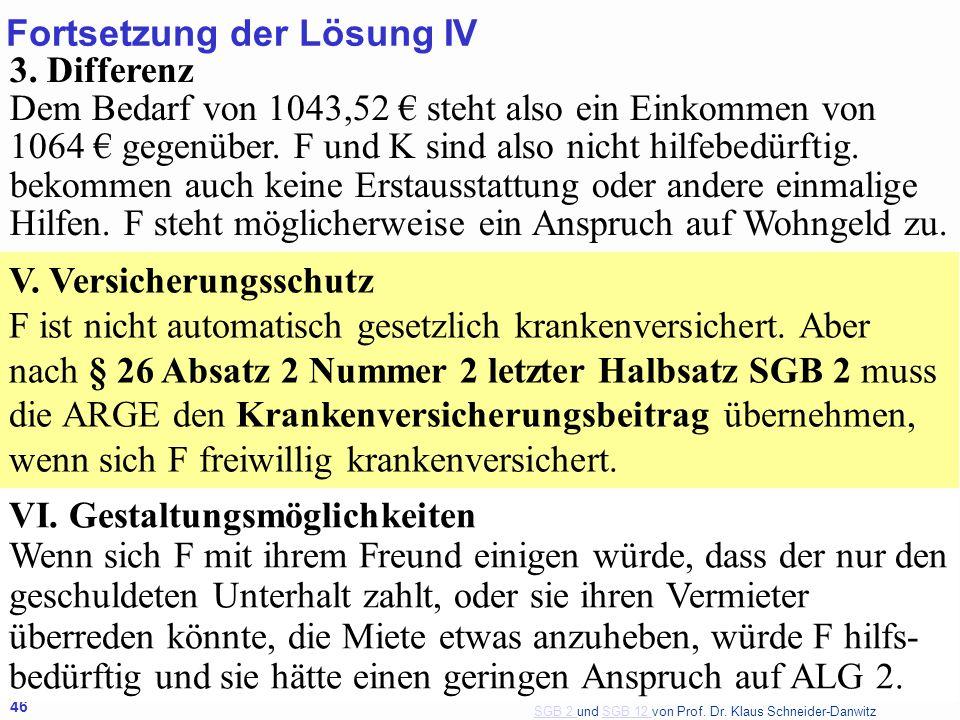 SGB 2 SGB 2 und SGB 12 von Prof. Dr. Klaus Schneider-DanwitzSGB 12 46 3. Differenz Dem Bedarf von 1043,52 steht also ein Einkommen von 1064 gegenüber.