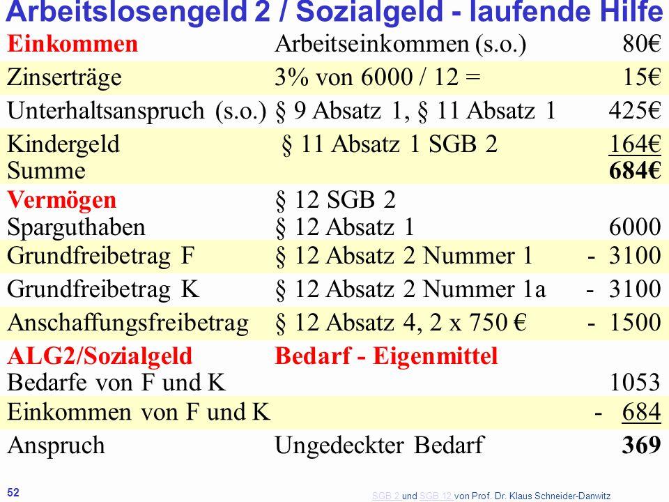 SGB 2 SGB 2 und SGB 12 von Prof. Dr. Klaus Schneider-DanwitzSGB 12 52 EinkommenArbeitseinkommen(s.o.) 80 Zinserträge3% von 6000 / 12 = 15 Unterhaltsan