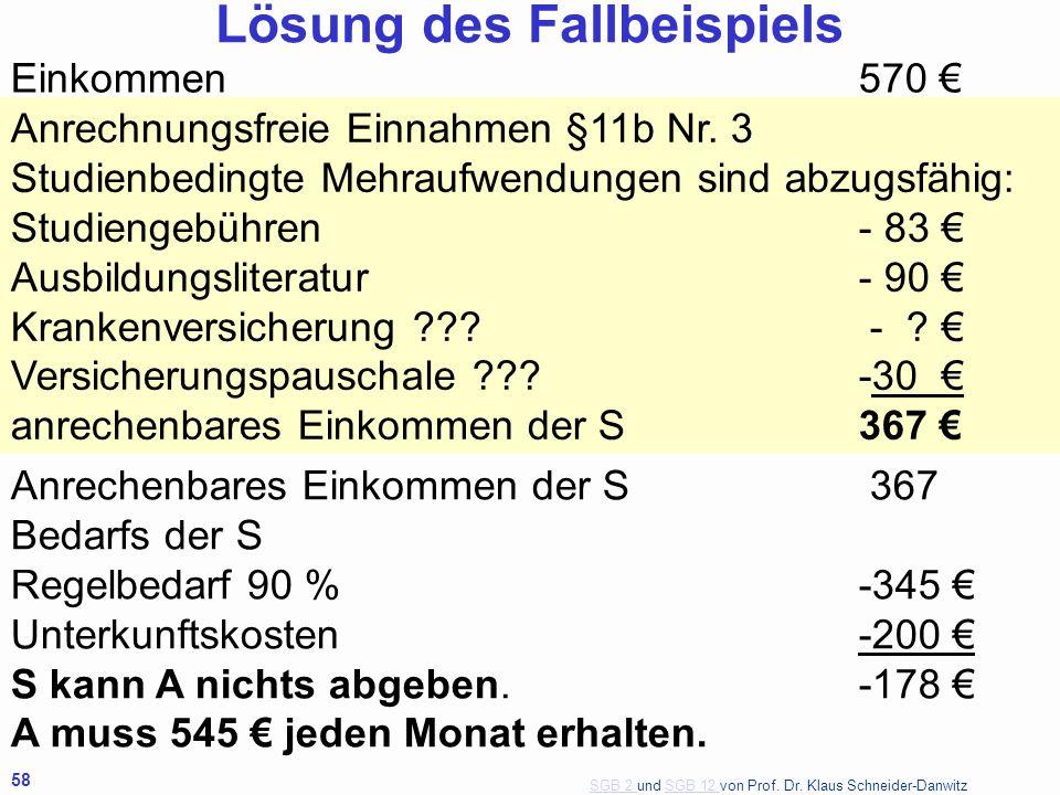 SGB 2 SGB 2 und SGB 12 von Prof. Dr. Klaus Schneider-DanwitzSGB 12 58 Einkommen570 Anrechnungsfreie Einnahmen §11b Nr. 3 Studienbedingte Mehraufwendun