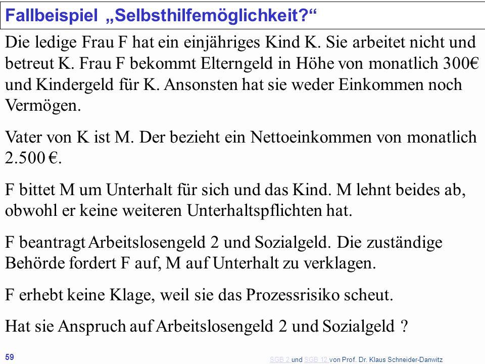 SGB 2 SGB 2 und SGB 12 von Prof. Dr. Klaus Schneider-DanwitzSGB 12 59 Fallbeispiel Selbsthilfemöglichkeit? Die ledige Frau F hat ein einjähriges Kind
