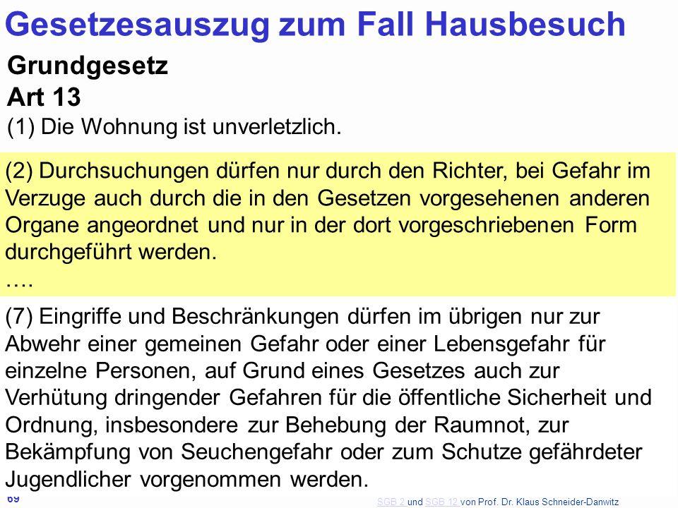 SGB 2 SGB 2 und SGB 12 von Prof. Dr. Klaus Schneider-DanwitzSGB 12 69 Grundgesetz Art 13 (1) Die Wohnung ist unverletzlich.. (2) Durchsuchungen dürfen