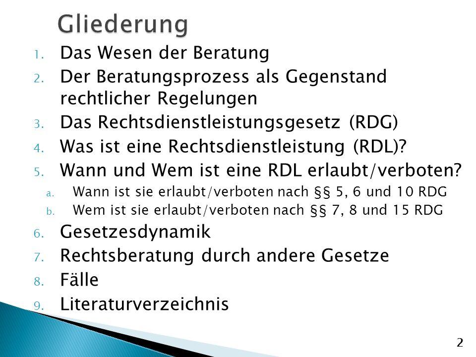 1.Das Wesen der Beratung 2. Der Beratungsprozess als Gegenstand rechtlicher Regelungen 3.