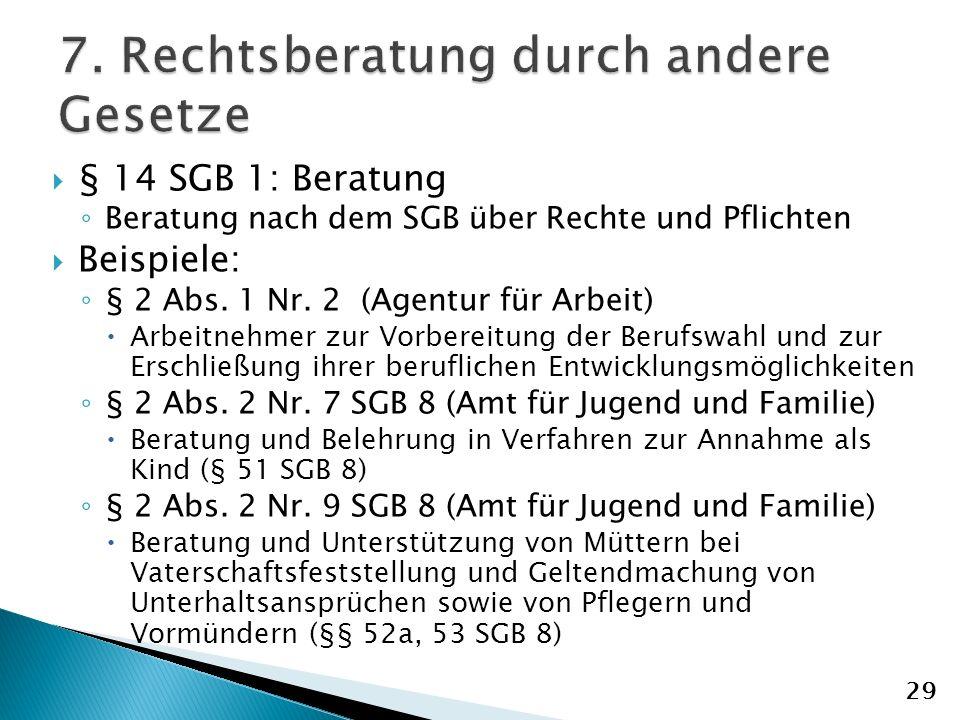 § 14 SGB 1: Beratung Beratung nach dem SGB über Rechte und Pflichten Beispiele: § 2 Abs.