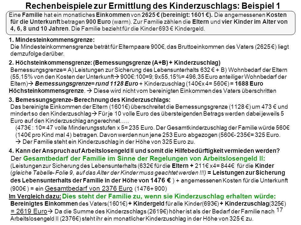 17 Rechenbeispiele zur Ermittlung des Kinderzuschlags: Beispiel 1 Eine Familie hat ein monatliches Einkommen von 2625 (bereinigt: 1601 ). Die angemess