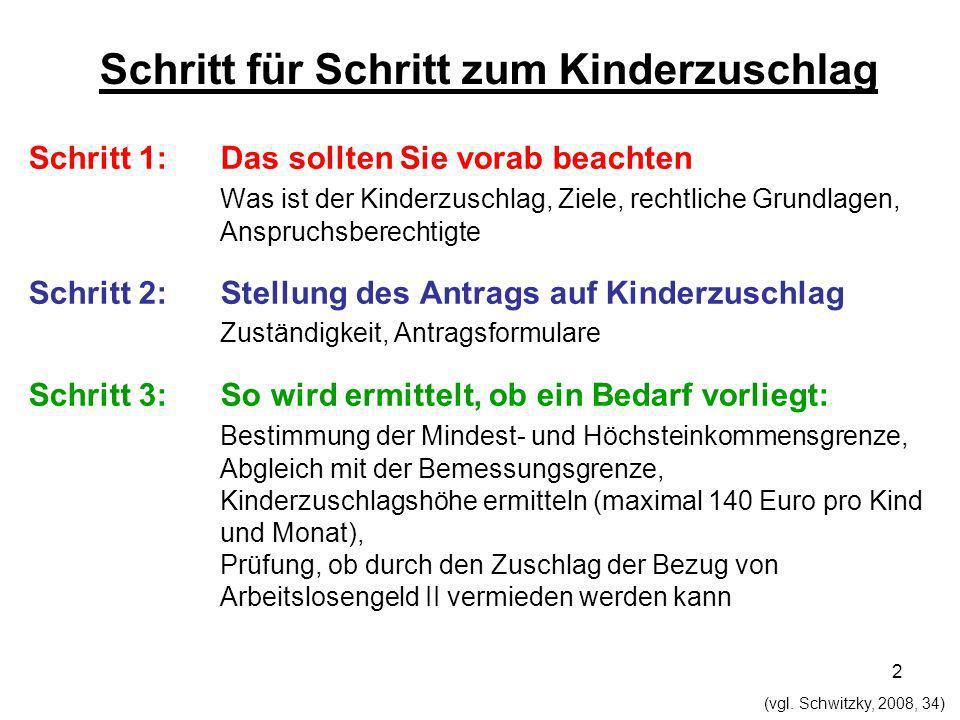 2 Schritt für Schritt zum Kinderzuschlag Schritt 1: Das sollten Sie vorab beachten Was ist der Kinderzuschlag, Ziele, rechtliche Grundlagen, Anspruchs