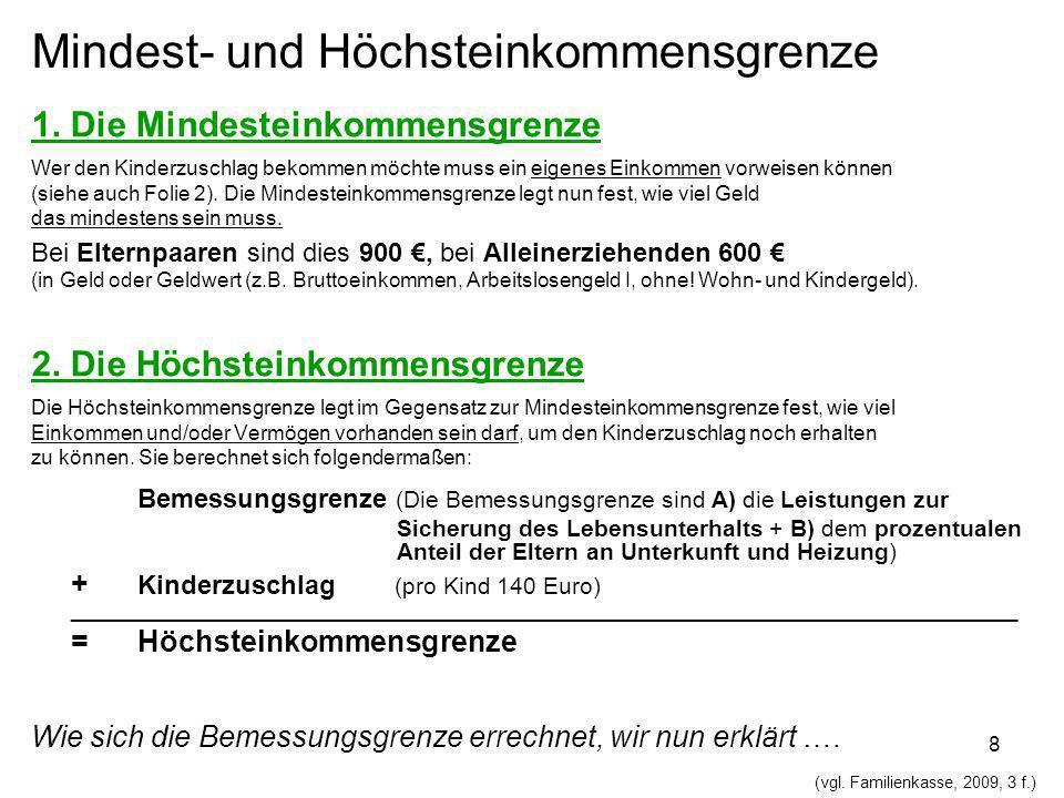 9 Beispielsfall zur Mindesteinkommensgrenze: Ein Familienvater verdient monatlich brutto 850 Euro.
