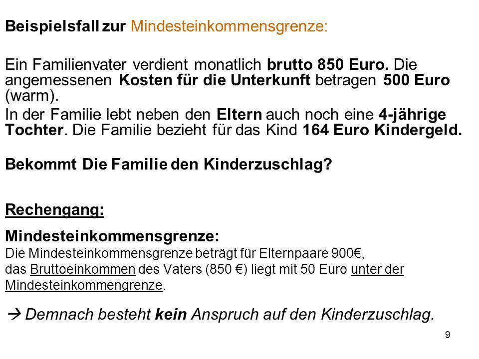 10 Berechnung der Bemessungsgrenze (Leistungen zur Sicherung des Lebensunterhalts + prozentualer Anteil der Eltern an Unterkunft und Heizung) A) Leistungen zur Sicherung des Lebensunterhalts Alleinstehende Elternteile (100% der Regelleistung) 351 Euro Elternpaar (2x 90% der Regelleistung) 632 Euro (2x 316 Euro) Kinder von 15-25 Jahren (80% der Regelleistung) Je 281 Euro Kinder bis 14 Jahre (60% der Regelleistung) Je 211 Euro Monatliche Höhe der Regelleistung Diese Personen erhalten zusätzlich folgenden Mehrbedarf: Werdende Mütter ab der 12.