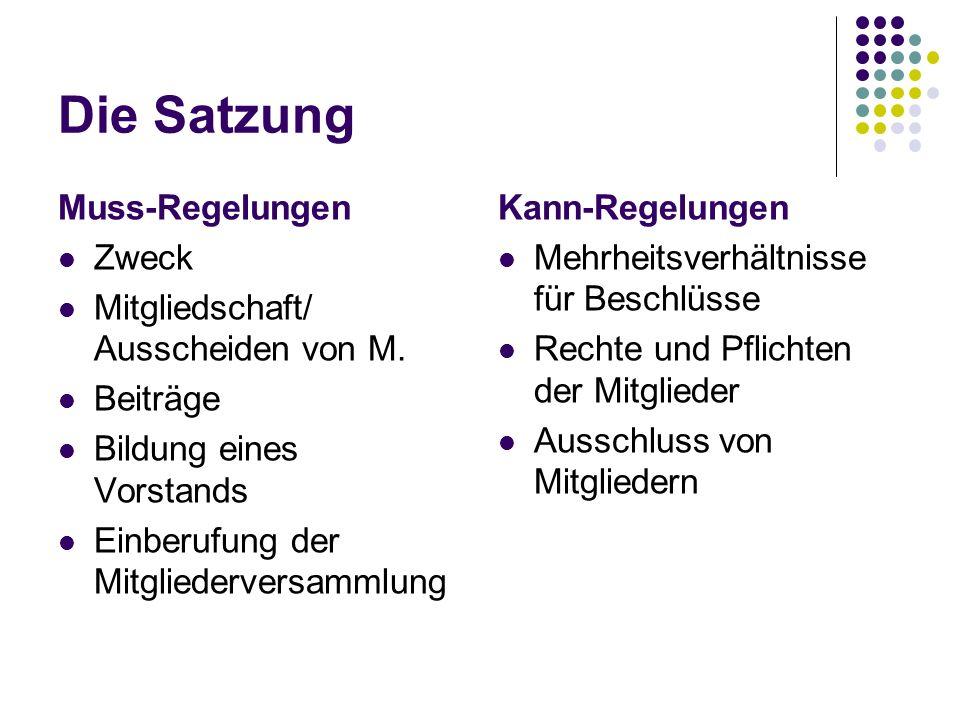 Die Satzung Muss-Regelungen Zweck Mitgliedschaft/ Ausscheiden von M. Beiträge Bildung eines Vorstands Einberufung der Mitgliederversammlung Kann-Regel