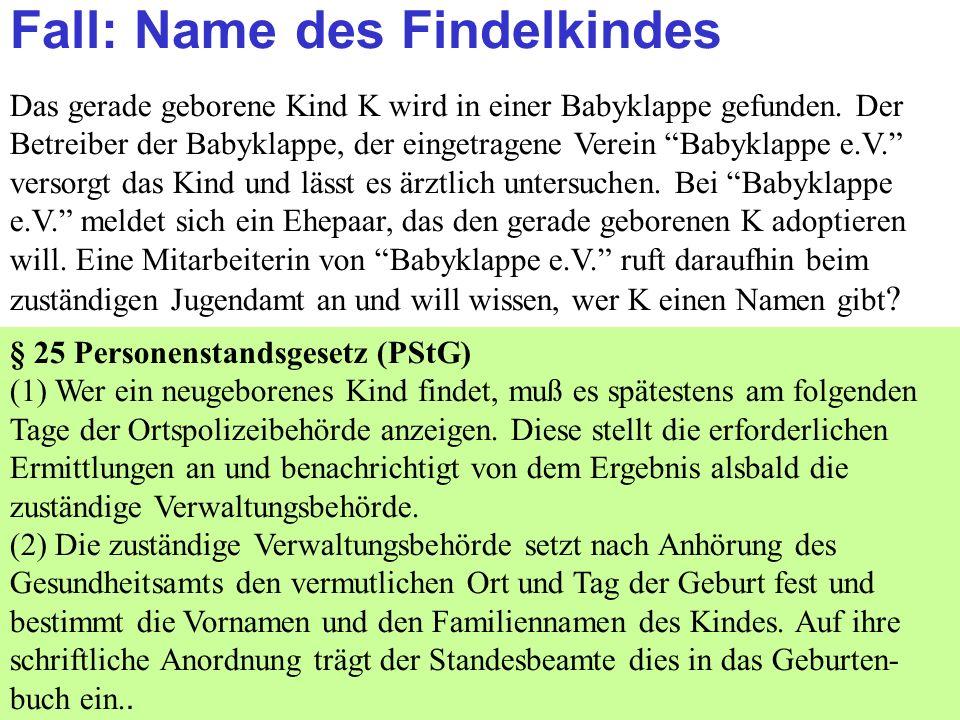 Clausnitzer/Schneider-Danwitz Fall: Name des Findelkindes Das gerade geborene Kind K wird in einer Babyklappe gefunden.