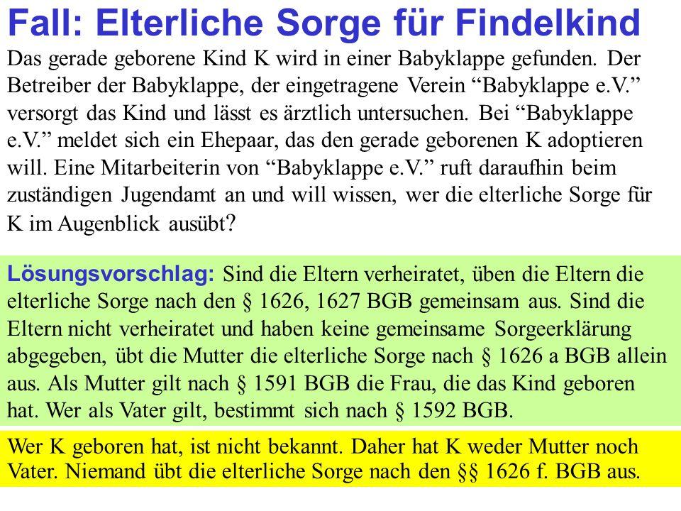 Clausnitzer/Schneider-Danwitz Fall: Elterliche Sorge für Findelkind Das gerade geborene Kind K wird in einer Babyklappe gefunden.