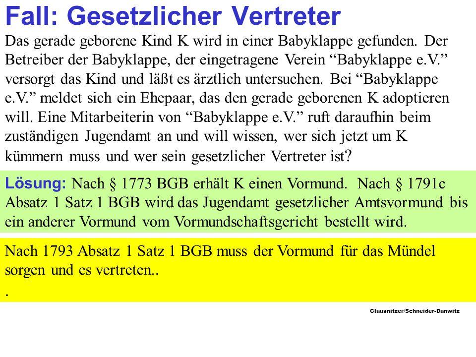 Clausnitzer/Schneider-Danwitz Fall: Gesetzlicher Vertreter Das gerade geborene Kind K wird in einer Babyklappe gefunden.