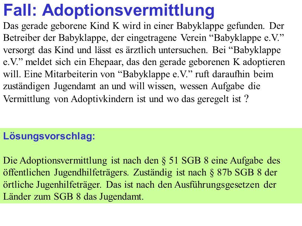 Clausnitzer/Schneider-Danwitz Fall: Adoptionsvermittlung Das gerade geborene Kind K wird in einer Babyklappe gefunden.