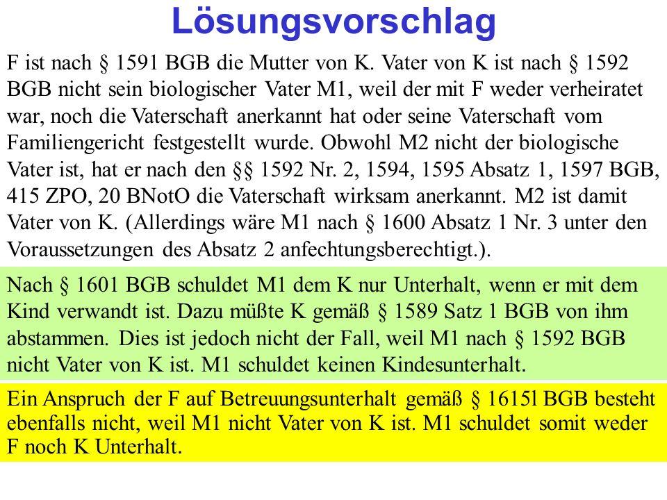 Clausnitzer/Schneider-Danwitz Lösungsvorschlag F ist nach § 1591 BGB die Mutter von K.