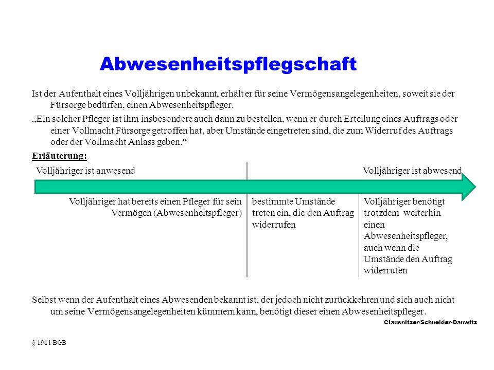 Clausnitzer/Schneider-Danwitz Abwesenheitspflegschaft Ist der Aufenthalt eines Volljährigen unbekannt, erhält er für seine Vermögensangelegenheiten, soweit sie der Fürsorge bedürfen, einen Abwesenheitspfleger.