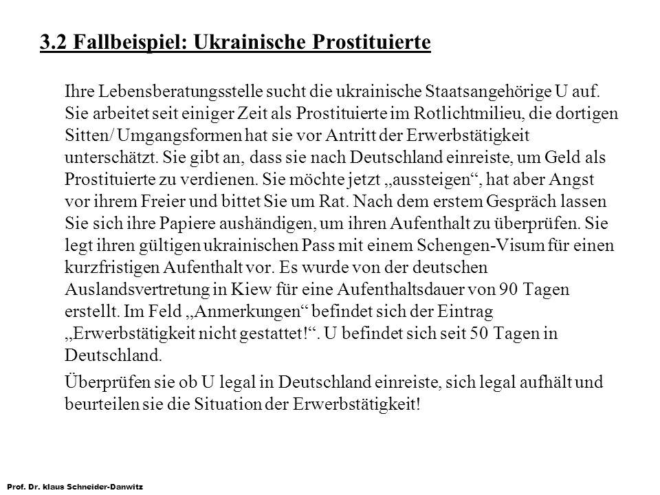 Prof. Dr. klaus Schneider-Danwitz 3.2 Fallbeispiel: Ukrainische Prostituierte Ihre Lebensberatungsstelle sucht die ukrainische Staatsangehörige U auf.