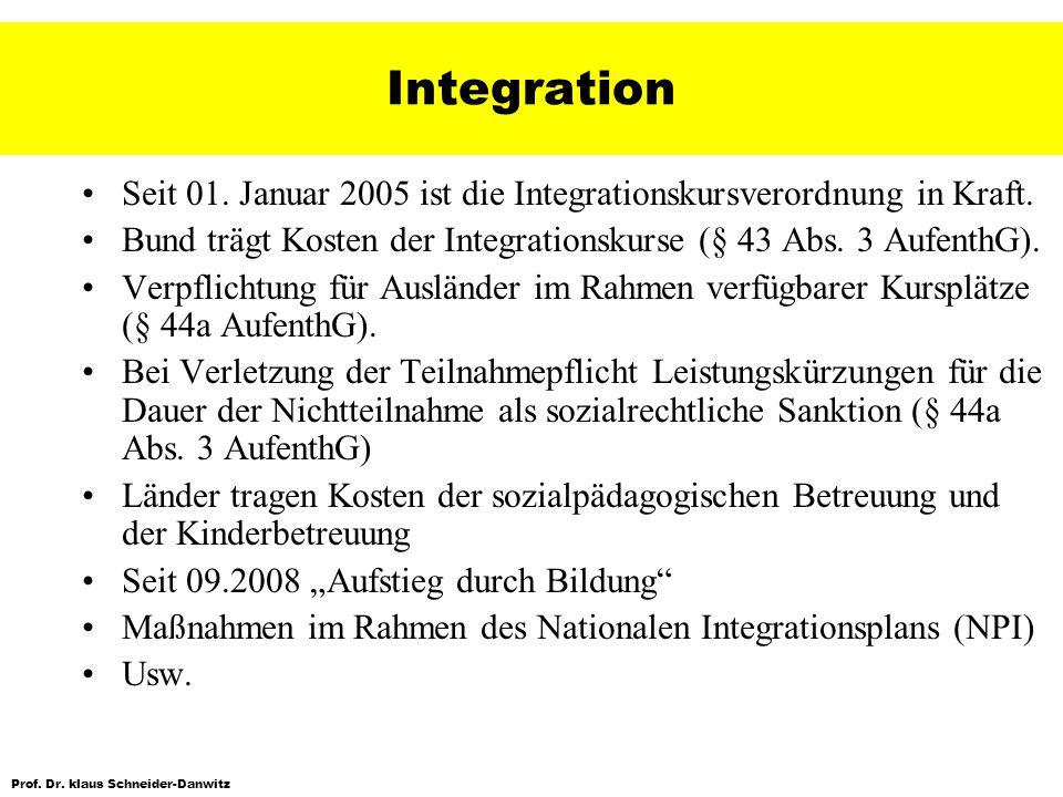 Prof. Dr. klaus Schneider-Danwitz Integration Seit 01. Januar 2005 ist die Integrationskursverordnung in Kraft. Bund trägt Kosten der Integrationskurs