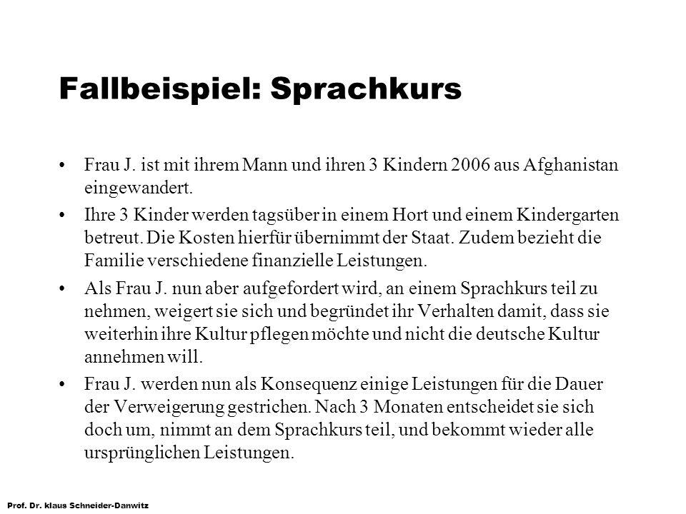 Prof. Dr. klaus Schneider-Danwitz Fallbeispiel: Sprachkurs Frau J. ist mit ihrem Mann und ihren 3 Kindern 2006 aus Afghanistan eingewandert. Ihre 3 Ki