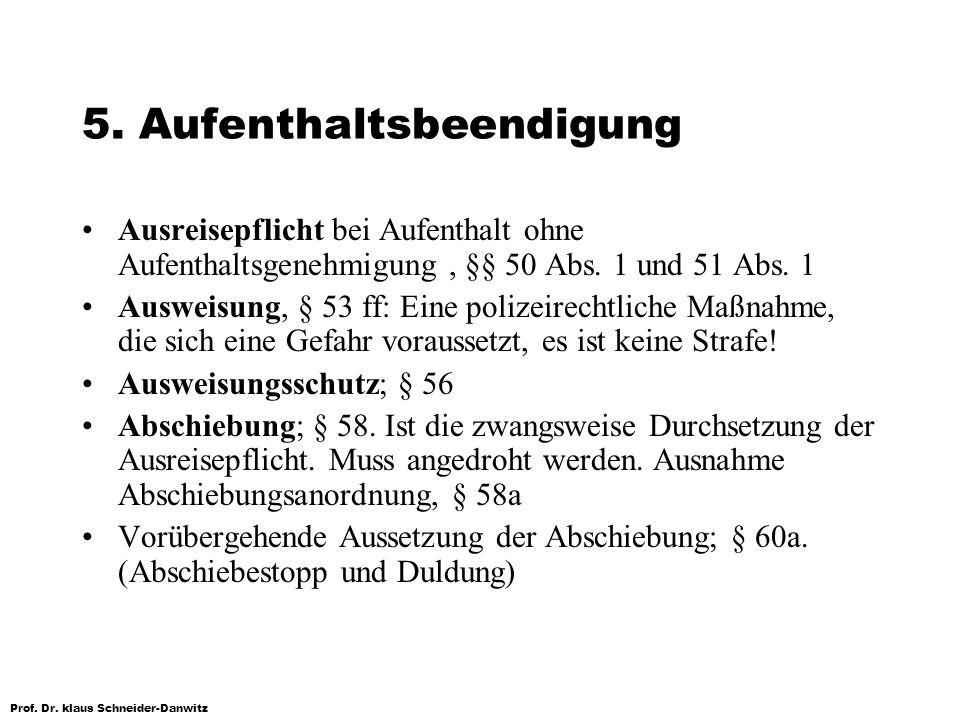 Prof. Dr. klaus Schneider-Danwitz 5. Aufenthaltsbeendigung Ausreisepflicht bei Aufenthalt ohne Aufenthaltsgenehmigung, §§ 50 Abs. 1 und 51 Abs. 1 Ausw