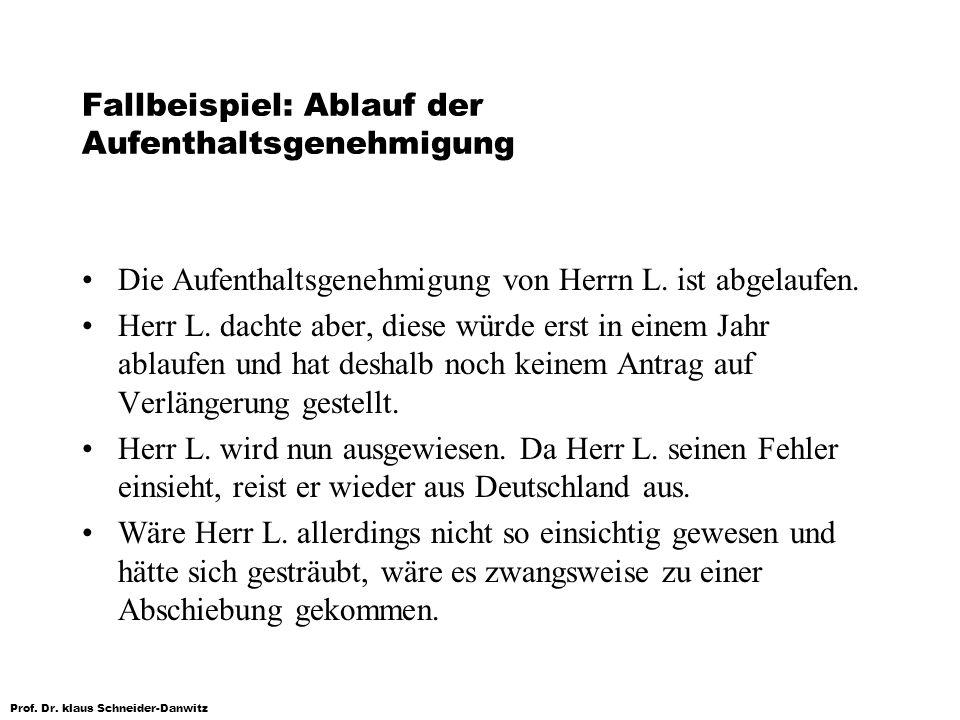 Prof. Dr. klaus Schneider-Danwitz Fallbeispiel: Ablauf der Aufenthaltsgenehmigung Die Aufenthaltsgenehmigung von Herrn L. ist abgelaufen. Herr L. dach