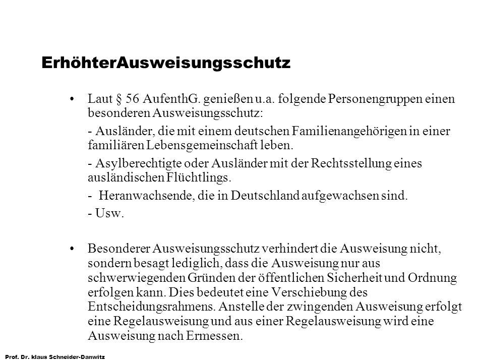 Prof. Dr. klaus Schneider-Danwitz ErhöhterAusweisungsschutz Laut § 56 AufenthG. genießen u.a. folgende Personengruppen einen besonderen Ausweisungssch