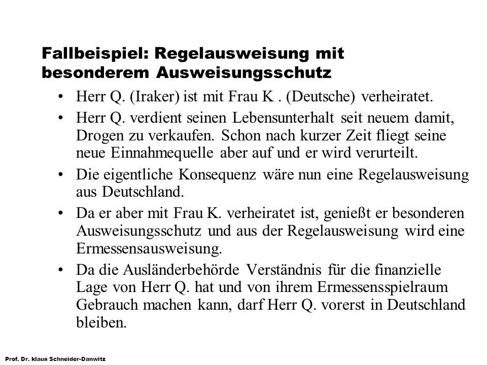 Prof. Dr. klaus Schneider-Danwitz Fallbeispiel: Regelausweisung mit besonderem Ausweisungsschutz Herr Q. (Iraker) ist mit Frau K. (Deutsche) verheirat