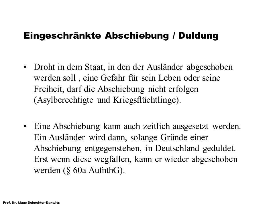 Prof. Dr. klaus Schneider-Danwitz Eingeschränkte Abschiebung / Duldung Droht in dem Staat, in den der Ausländer abgeschoben werden soll, eine Gefahr f