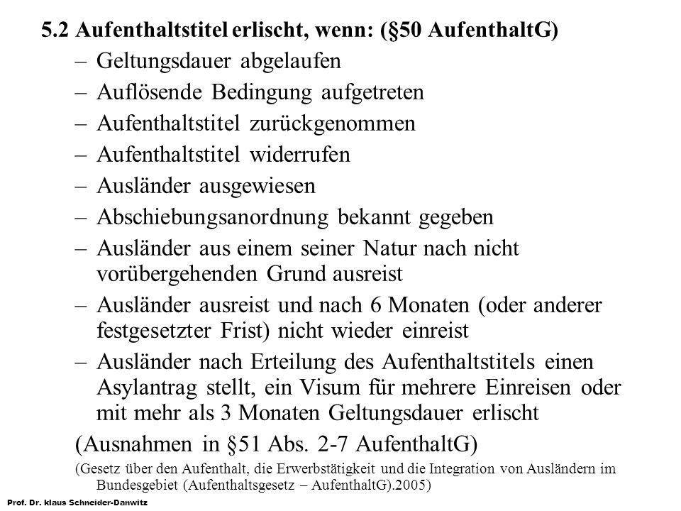 Prof. Dr. klaus Schneider-Danwitz 5.2 Aufenthaltstitel erlischt, wenn: (§50 AufenthaltG) –Geltungsdauer abgelaufen –Auflösende Bedingung aufgetreten –