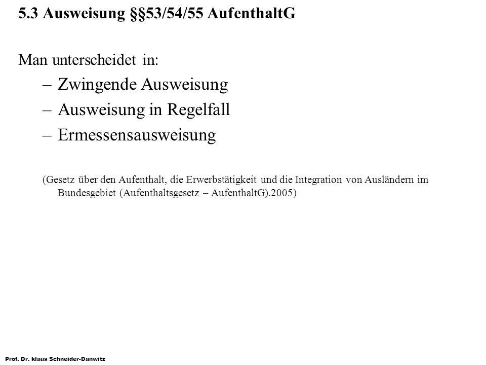 Prof. Dr. klaus Schneider-Danwitz 5.3 Ausweisung §§53/54/55 AufenthaltG Man unterscheidet in: –Zwingende Ausweisung –Ausweisung in Regelfall –Ermessen