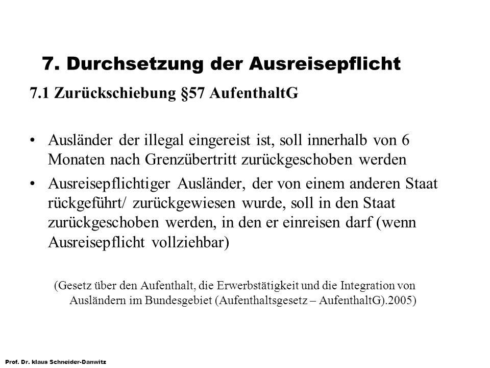 Prof. Dr. klaus Schneider-Danwitz 7. Durchsetzung der Ausreisepflicht 7.1 Zurückschiebung §57 AufenthaltG Ausländer der illegal eingereist ist, soll i