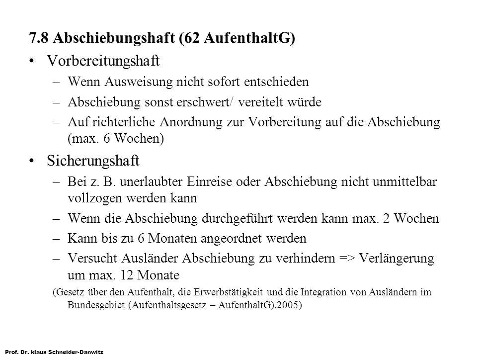 Prof. Dr. klaus Schneider-Danwitz 7.8 Abschiebungshaft (62 AufenthaltG) Vorbereitungshaft –Wenn Ausweisung nicht sofort entschieden –Abschiebung sonst