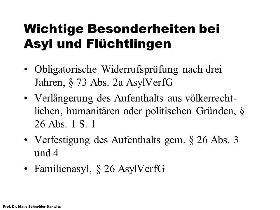 Prof. Dr. klaus Schneider-Danwitz Wichtige Besonderheiten bei Asyl und Flüchtlingen Obligatorische Widerrufsprüfung nach drei Jahren, § 73 Abs. 2a Asy