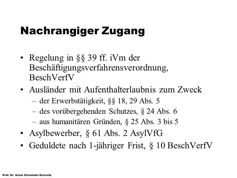 Prof. Dr. klaus Schneider-Danwitz Nachrangiger Zugang Regelung in §§ 39 ff. iVm der Beschäftigungsverfahrensverordnung, BeschVerfV Ausländer mit Aufen