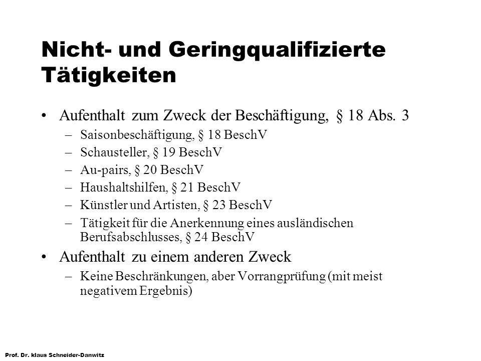 Prof. Dr. klaus Schneider-Danwitz Nicht- und Geringqualifizierte Tätigkeiten Aufenthalt zum Zweck der Beschäftigung, § 18 Abs. 3 –Saisonbeschäftigung,