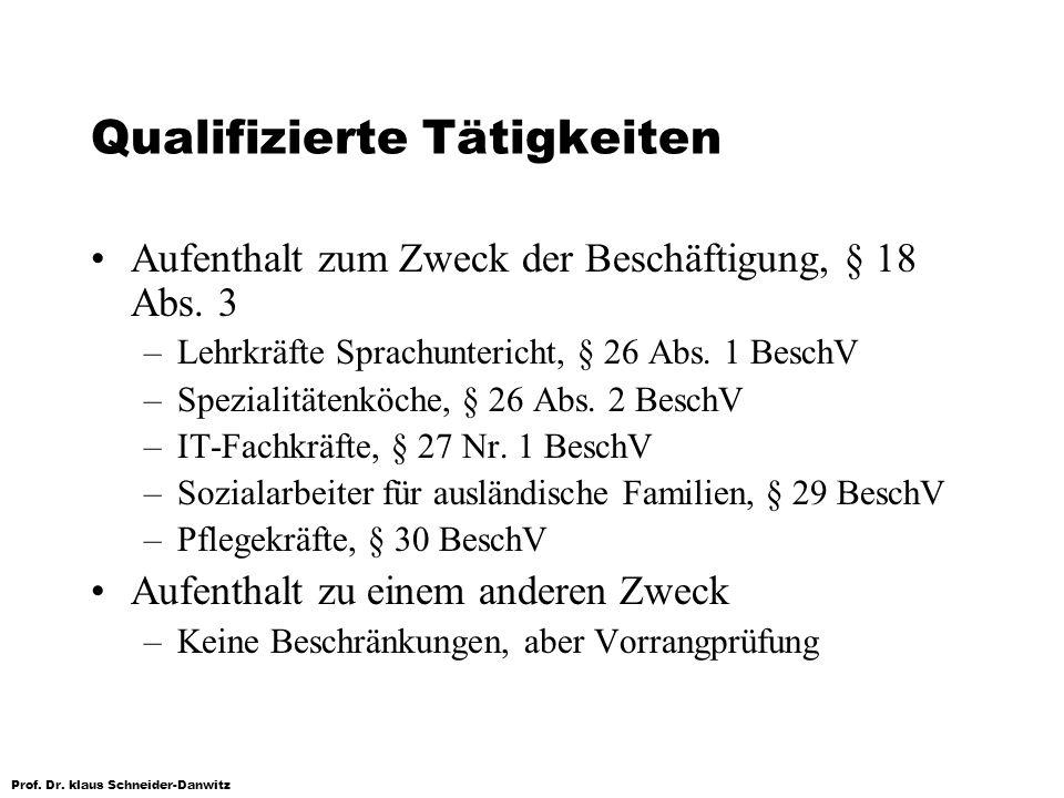 Prof. Dr. klaus Schneider-Danwitz Qualifizierte Tätigkeiten Aufenthalt zum Zweck der Beschäftigung, § 18 Abs. 3 –Lehrkräfte Sprachuntericht, § 26 Abs.