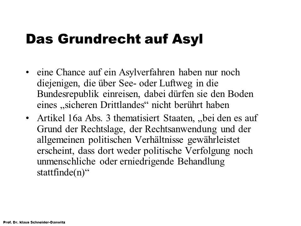 Prof. Dr. klaus Schneider-Danwitz Das Grundrecht auf Asyl eine Chance auf ein Asylverfahren haben nur noch diejenigen, die über See- oder Luftweg in d
