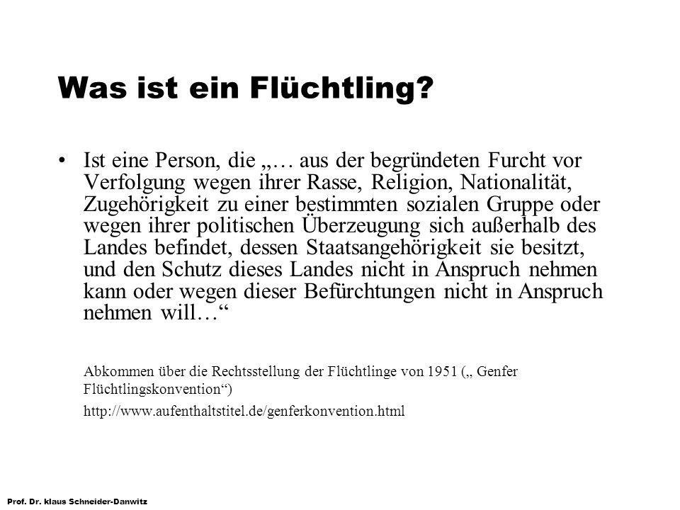 Prof. Dr. klaus Schneider-Danwitz Was ist ein Flüchtling? Ist eine Person, die … aus der begründeten Furcht vor Verfolgung wegen ihrer Rasse, Religion