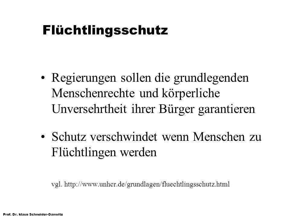 Prof. Dr. klaus Schneider-Danwitz Flüchtlingsschutz Regierungen sollen die grundlegenden Menschenrechte und körperliche Unversehrtheit ihrer Bürger ga