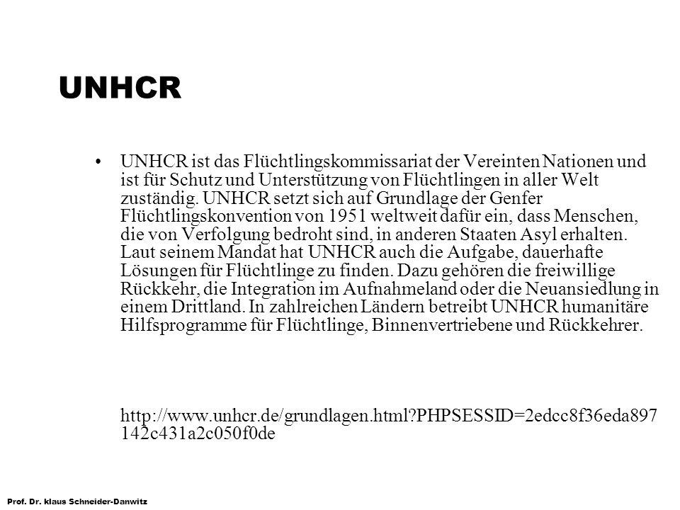 Prof. Dr. klaus Schneider-Danwitz UNHCR UNHCR ist das Flüchtlingskommissariat der Vereinten Nationen und ist für Schutz und Unterstützung von Flüchtli