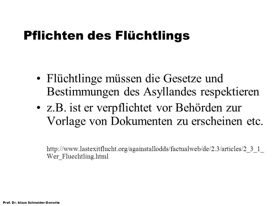 Prof. Dr. klaus Schneider-Danwitz Pflichten des Flüchtlings Flüchtlinge müssen die Gesetze und Bestimmungen des Asyllandes respektieren z.B. ist er ve
